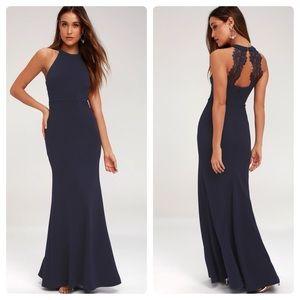 Lulus Joella Navy Blue Lace Halter Dress